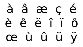 French alphabet additional characters