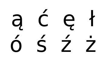 Polish alphabet additional characters