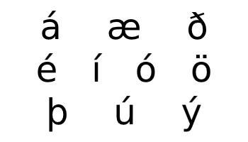 Icelandic alphabet additional characters