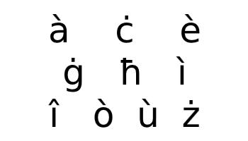Maltese alphabet additional characters