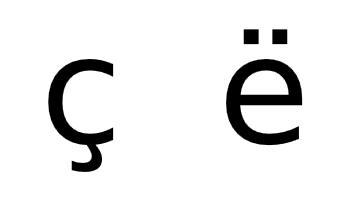 Albanian alphabet additional characters